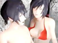 露天風呂で水着を着た美人お姉さんが男のチンポを弄り倒して強引に自ら挿入しちゃう発情セックス erovideo 無料エロアニメ動画