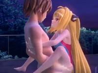 夜のプールで好きな男との駅弁ファックで激しく喘ぎながらイキ果てまくる金髪美少女 XVIDEOS 無料エロアニメ動画